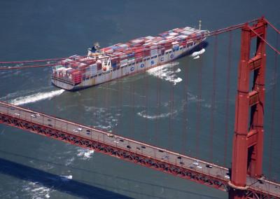 Cargo Ship under the Golden Gate bridge