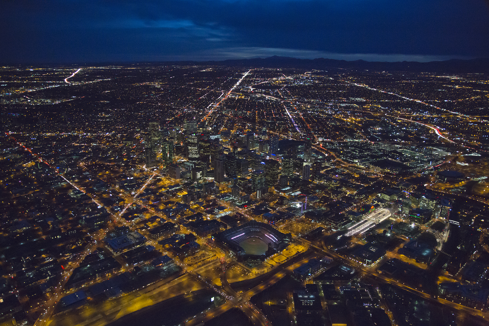 Denver Sunset Aerial Image