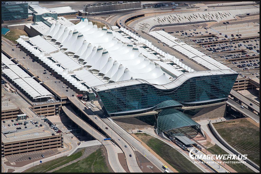 Denver International Airport Terminal & Westin Hotel Aerial