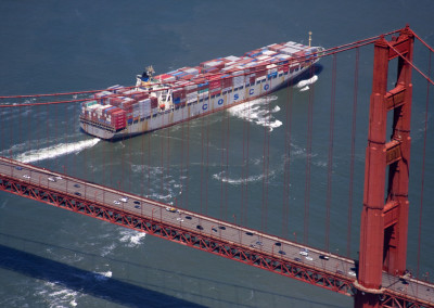 Cargo Ship under the Golden Gate bridge