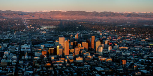 October Sunrise Panorama on Denver Colorado
