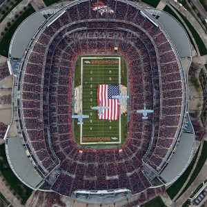2018 Denver Broncos vs KC Chiefs Flyover Vertical